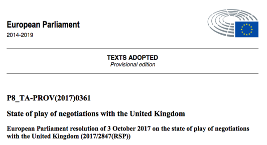 European Parliament resolution(171003)