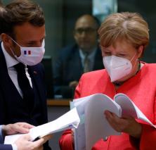Macron-Merkel masked